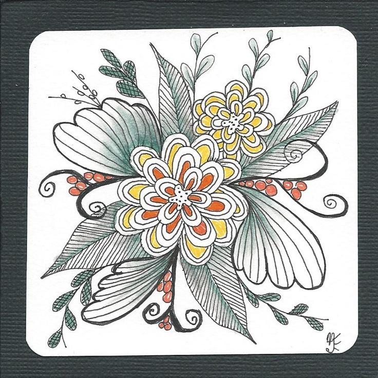Best zentangle flowers images on pinterest
