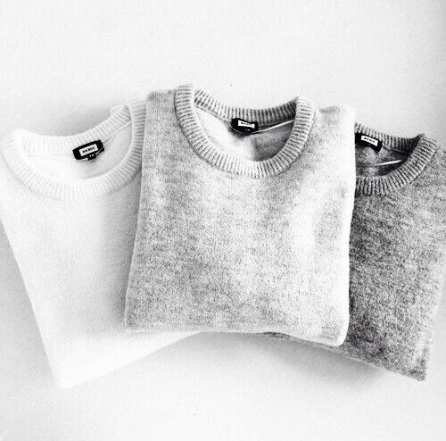 simple crew neck sweaters in white and grey.  The perfect staple for a winter and fall wardrobe.