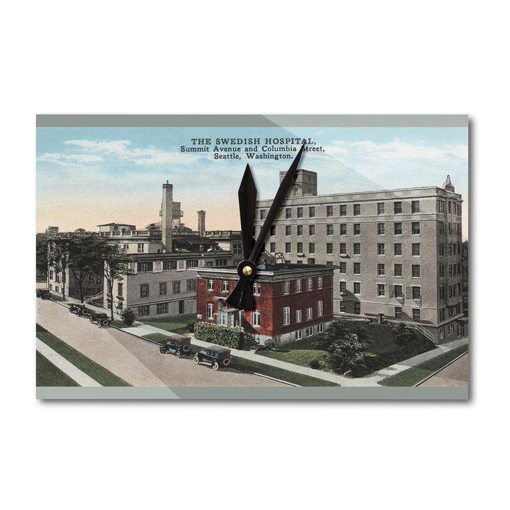 Seattle, WA - Swedish Hospital - Vintage Halftone (Acrylic Wall Clock), Black