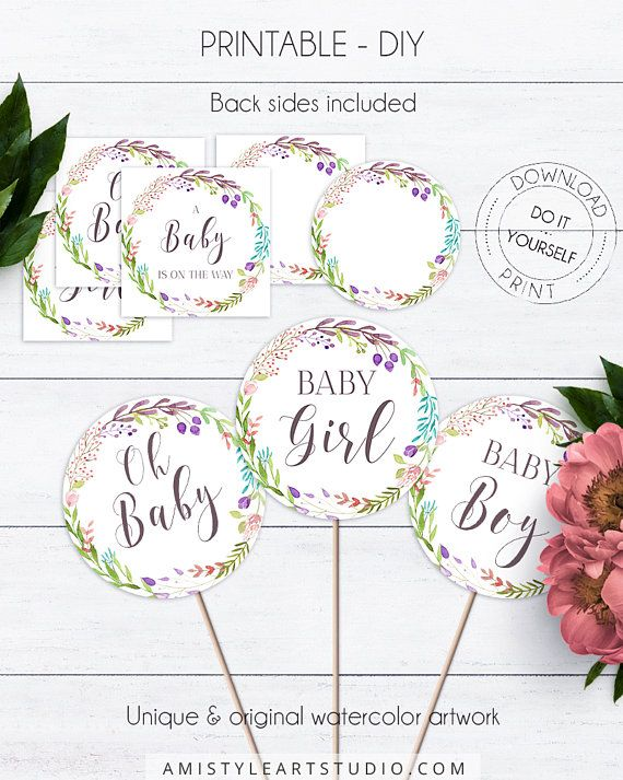 Flora Wreath Cupcake Topper, with pretty and adorable watercolor floral wreath design in vintage and boho style.This nice baby shower cupcake topper template listing is for an instant download PRINTABLE PDF so you can download it right away, print it at home or at your local copy shop by Amistyle Art Studio on Etsy