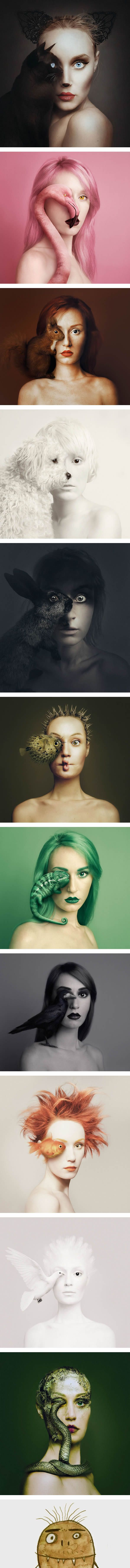 Flora Borsi Takes Self-Portraits with the Eyes of Animals in Her Series, 'Animeyed'
