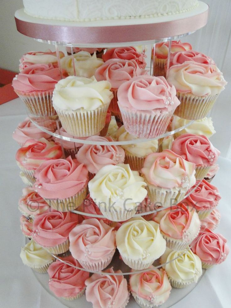 cupcake tower wedding ivory blush pink | cupcakes in Madagascan Vanilla, Zesty Lemon, Raspberry Ripple and Pink ...