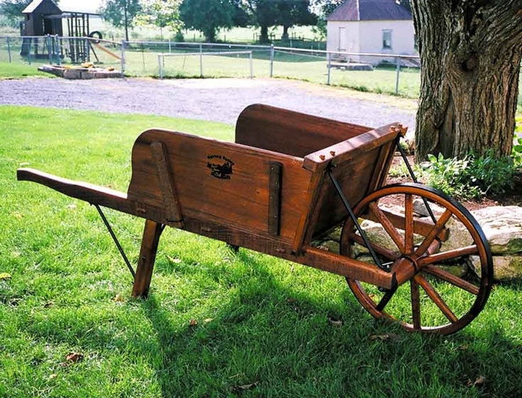 Amish Large Wooden Wheelbarrow with Removable Sideboards - $448.00 - #wheelbarrows