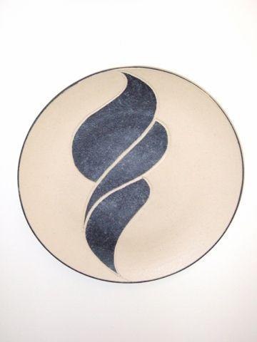 Plate, stoneware rawglazed singlefired Usch Spettigue 2005
