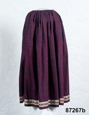 Kjol i tuskaftat halvylle, baksida, 1840. Sillhövda, Medelstad hd