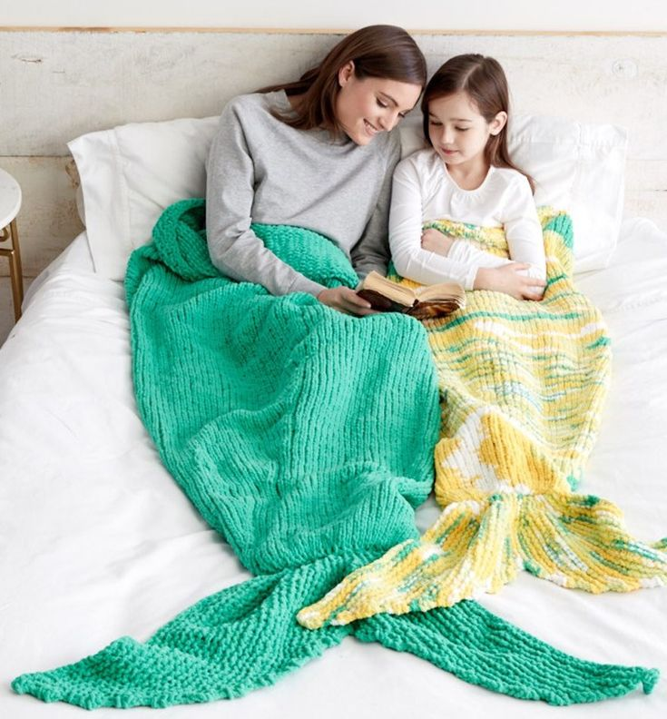 Free Knitting Pattern for Mermaid Snuggle Sack - A free knit version of a mermaid tail afghan. Easy pattern from Yarnspirations. Two sizes: Child and Adult