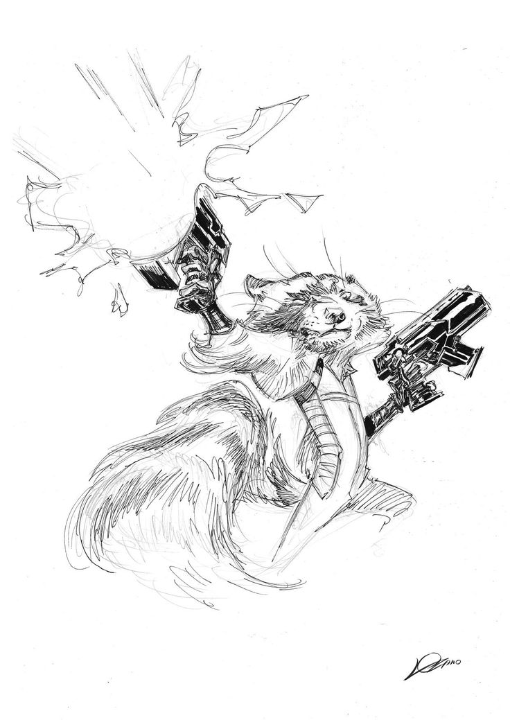 Rocket Raccoon by Alexander Lozano * Dog sketch
