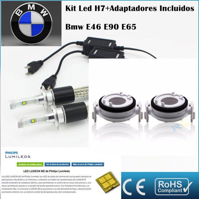 Kit Led BMW E90 E46 E65 AR4,con led PHILIPS de 9600 Lúmenes, Kit de conversión de Faros Halogenos H7 a Faros Led + Adaptadores :: MERCAELITE, kit xenon,Kit Led,Bombillas Led y Xenon,Accesorios