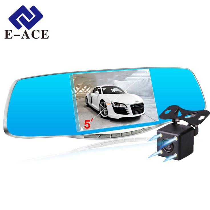 E-ACE Mobil Kamera Dvr Night Vision Auto Perekam Video Spion cermin Full HD 1080 P Dengan Dua Lensa Kamera Parkir Monitor Dashcam