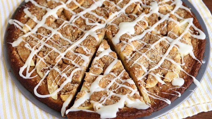 Apple crisp and cookies? Two favorite sweet treats combine in this dessert pizza.