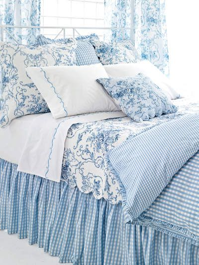Blue And White Toile With Check Fresh For Summer I Think