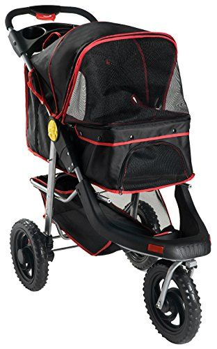 Merax One Hand Collapse Three Wheels Folding Pet Dog Cat Stroller Travel Carrier Light Weight Multifuction Stroller (Black) -- To view further, visit http://www.amazon.com/gp/product/B0171CQU1W/?tag=lizloveshoes-20&ppq=310716220837