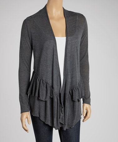 Loving this Charcoal Ruffle Open Cardigan on #zulily! #zulilyfinds