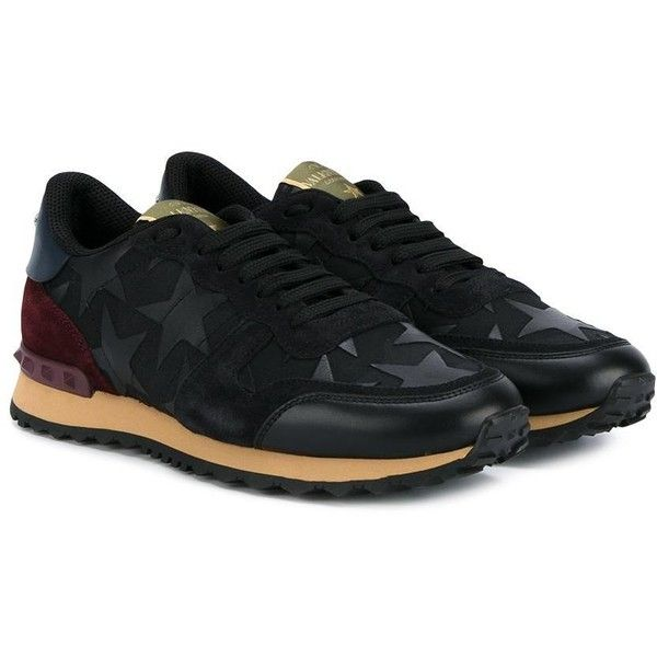 Valentino - Garavani 'Rockrunner' sneakers - women -... ($975) ❤ liked on Polyvore featuring shoes, sneakers, black lace up shoes, black leather shoes, black suede sneakers, leather shoes and rubber sole shoes