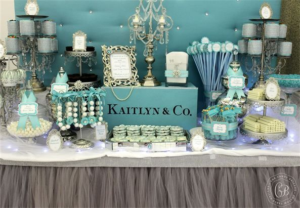 Tiffany themed dessert table   The Candy Brigade   Candy Buffets   Sweet Sixteen Parties   Tiffany & Co.