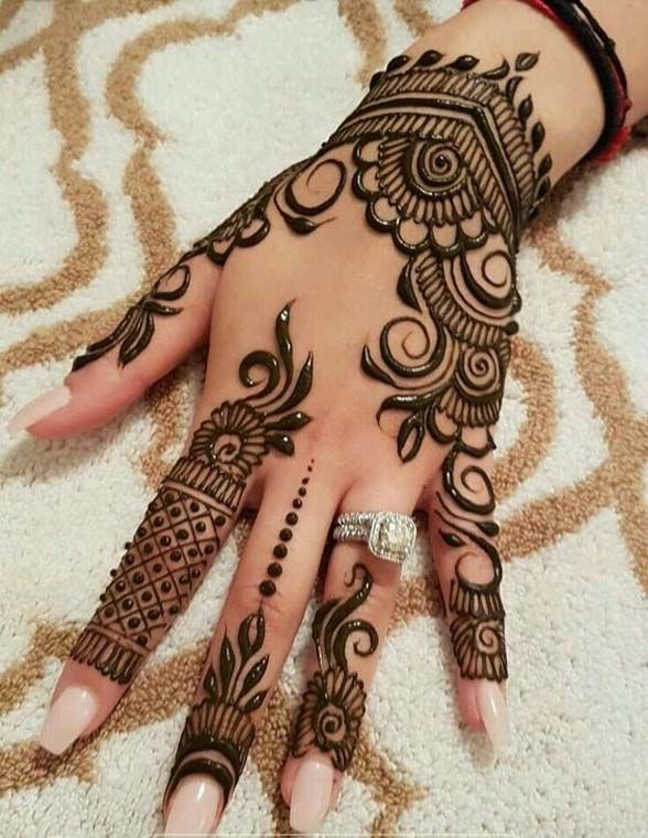 cecfef69a65a6 Back Hand Henna Design   Mehendi   Henna, Hand henna, Mehndi designs