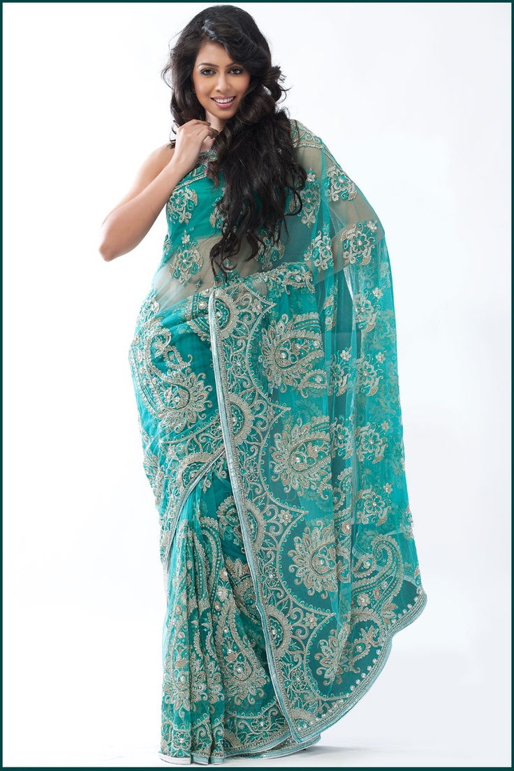 embroidered saree | Teal Green Faux Georgette Wedding and Festival Embroidered Saree