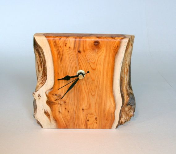 wood clock   Hand Made Yew wood Clock by Tom Thumb Designs by TomThumbDesigns