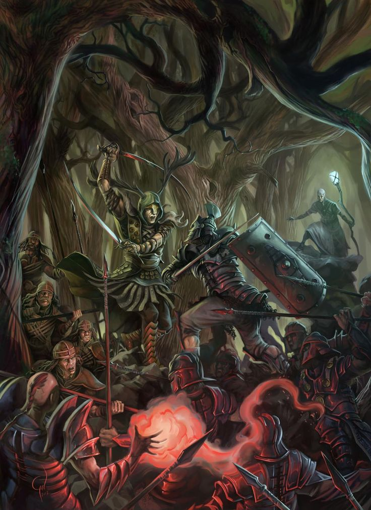 Godslayer Miniature Game Cover Art by IVAN GIL. Megalith Games.