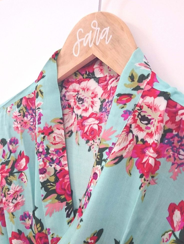 Light Blue Floral Bridesmaid Robe