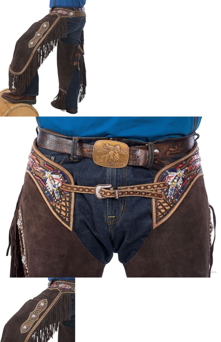 Western Chaps Full Chaps 183358: Western Chinks Chaps - Spider Tooled - Painted Feathers - Brown Leather - S,M,L -> BUY IT NOW ONLY: $175.99 on eBay!