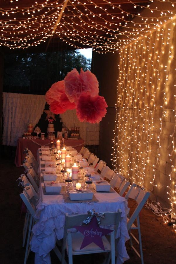 how cute are the lights and poms but in blue!! No pom poms on the table tho maybe in the photo booth!