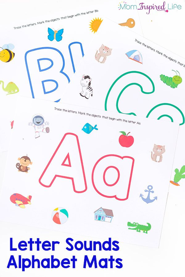 These alphabet mats are perfect for teaching the alphabet to preschoolers! It's a great way to practice letter recognition, beginning letter sounds and even writing letters! Use them with play dough or dry-erase markers. They are perfect for your literacy center!