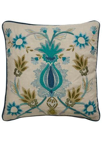 Dekota Pillow in White Swan & Dynasty Green design by Dekota