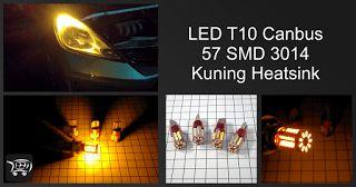 LED T10 Canbus 57 SMD 3014 Kuning Heatsink, lampu LED ini sangat cocok digunakan untuk mengganti bohlam standar kendaraan.