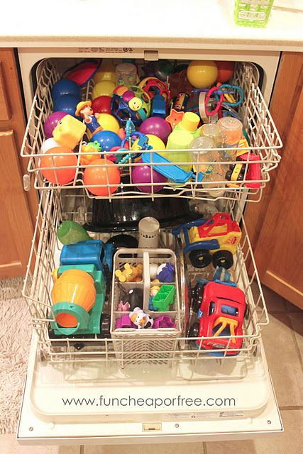 Run your toys through the dishwasher regularly to easily and effectively kill germs. Genius!
