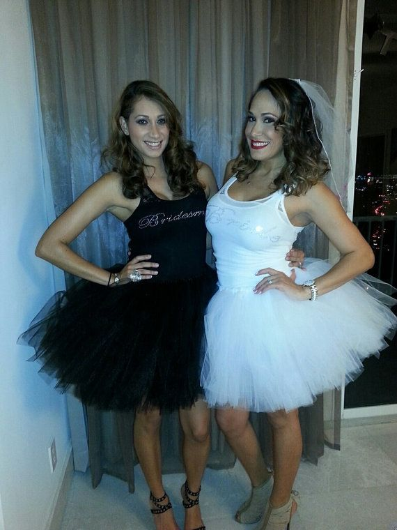 Tasha- this could be so fun and easy to make. Love this look...me in all white the girls in all black xXx Bachelorette Party Tutus Bridal Shower Tutus by PiaMiaBoutique