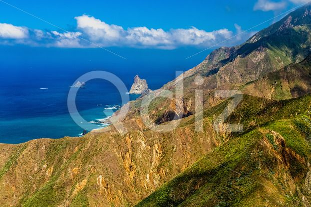 Qdiz Stock Photos | Shore of ocean with rock,  #Atlantic #blue #Canary #cloud #coast #green #horizon #island #landscape #mountain #nature #ocean #scenicviewnature #sea #shore #sky #skyline #Spain #spring #Tenerife