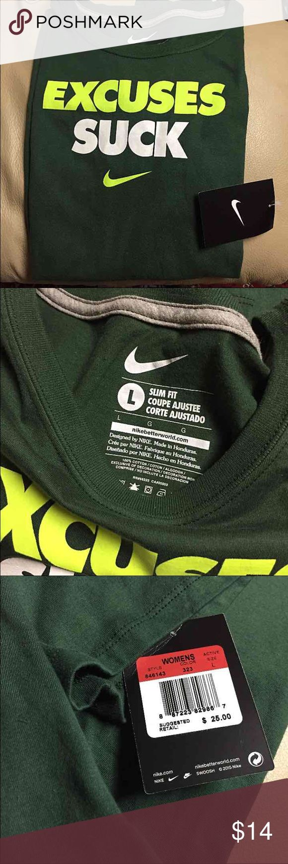 NWT - Ladies NIKE Tee Authentic NIKE T-Shirt - Slim Fit - size Large - 100% Cotton - Hunter Green with Neon Yellow & White Words - BNWT Nike Tops Tees - Short Sleeve