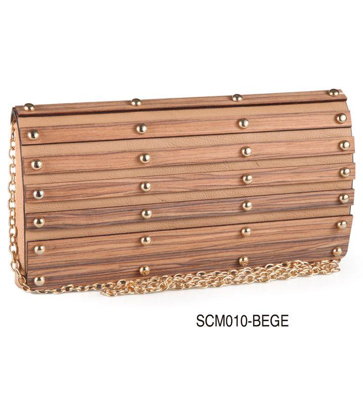 Carteira com apliques em madeira - SCM010 Bege