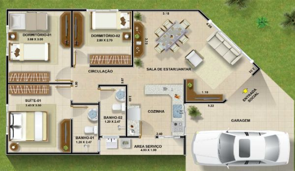 Planta casa 2 quartos 1 suite 80 mt pesquisa google for Casas modernas de 80 metros