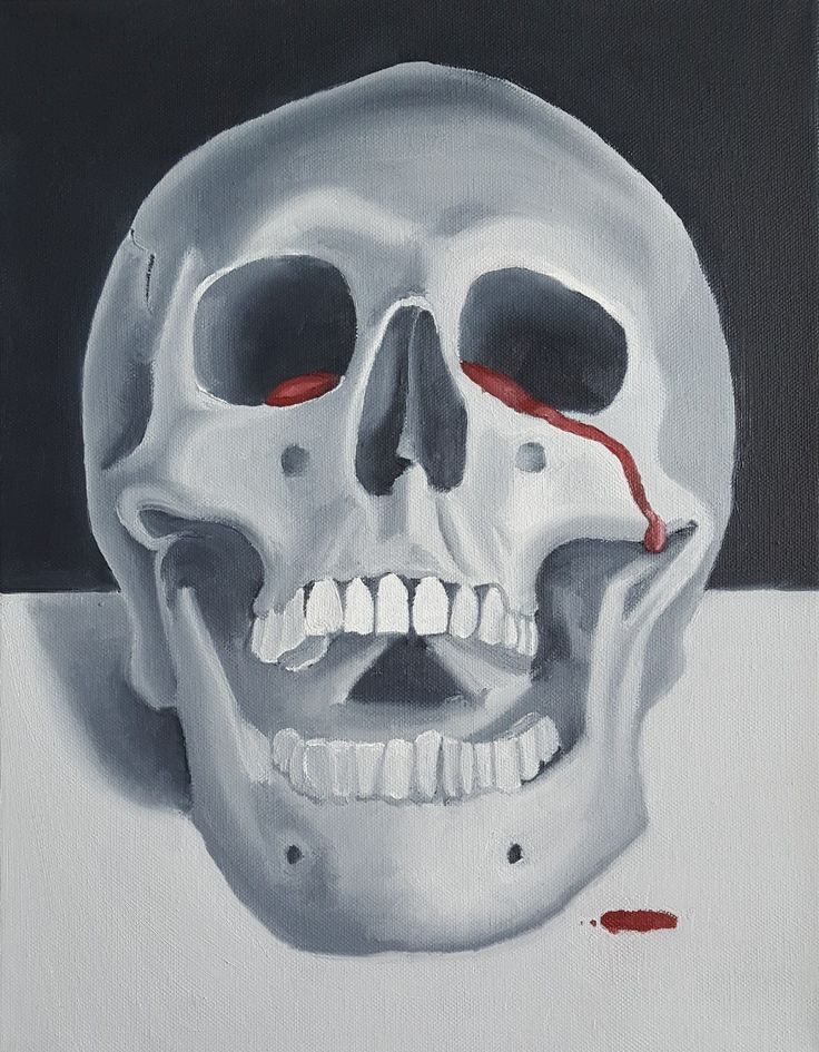 Skull crying blood tears yelling screaming oil painting art sad