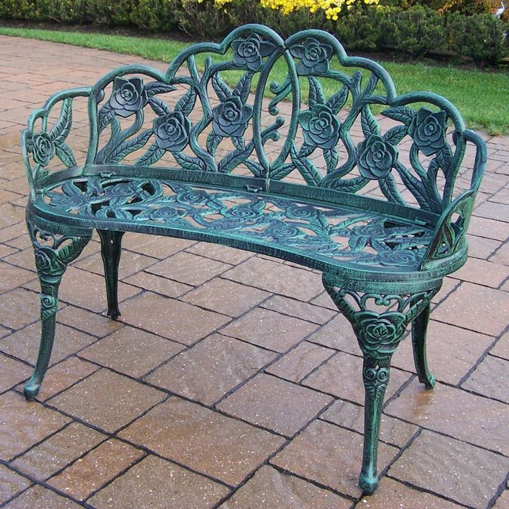 Oakland Living Lily Garden 37 in. Decorative Curved Metal Bench - Verdi Green | from hayneedle.com