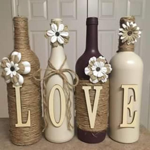 Wine Bottle Decor Hand Painted Family Custom Decorated Wine Bottles Cream And Grey In Color Hand Painted Wine Bottles Bottles Decoration Wine Bottle Diy Crafts