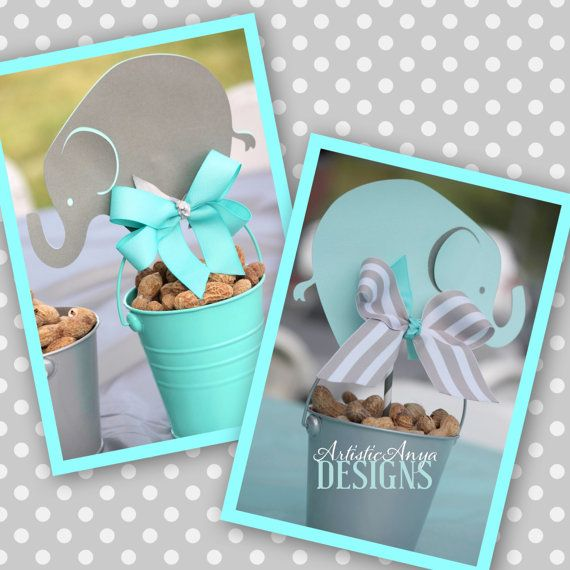 Elephant Centerpiece Toppers   Baby Shower Centerpieces (Set Of 4)   Gray  And Turquoise
