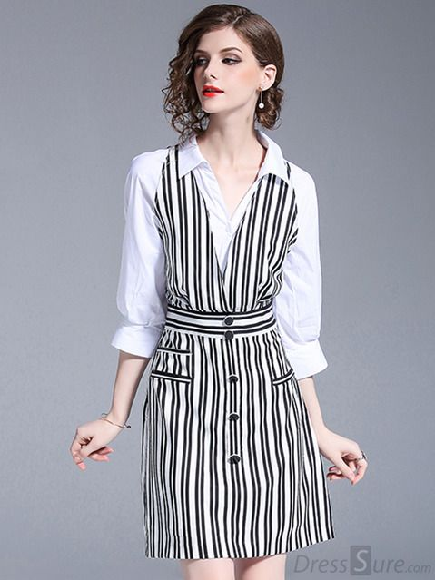 Work Stripe Stand Collar 3 4 Sleeve Fake Two Piece A Line Dress