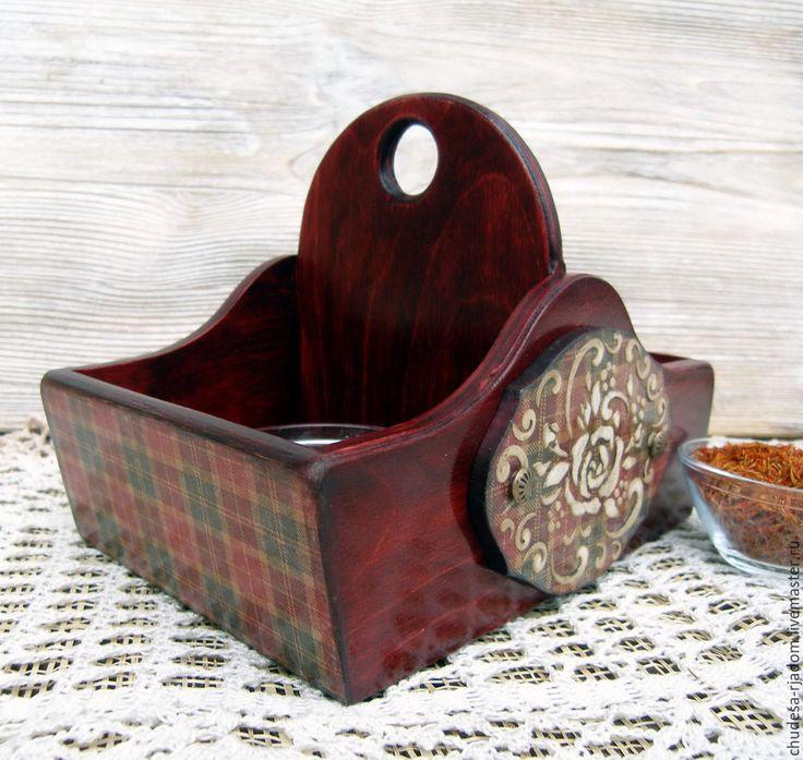 Купить Короб для специй Шотландская клетка - бордовый, короб, короб для хранения, короб для специй