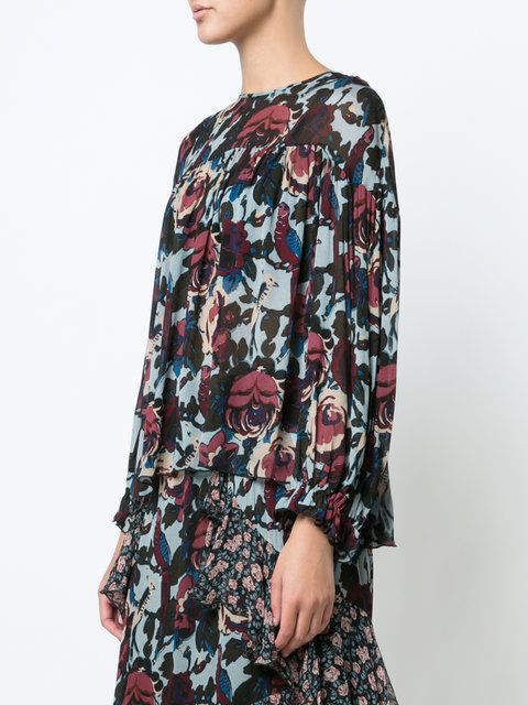 GABRIELLE'S AMAZING FANTASY CLOSET | Anna Sui's Floral Print Rayon Blouse has Dark, Moody Tonal Red Roses and Brown Foliage on an Aqua-Blue Ground. It has a Round Neck, a Yoke with Dropped Shoulders and a Tie-Back. The Body is Gathered and it has Balloon Sleeves. Define it with a Dark Red Tie Belt and wear it over the Matching Skirt with Sheer Contrasting Print Panel and Ruffles. Add Ruby Earrings, Ring, Wine Ankle-Boots and Bag to finish (It's all on this board). Sweet Little Outfit…