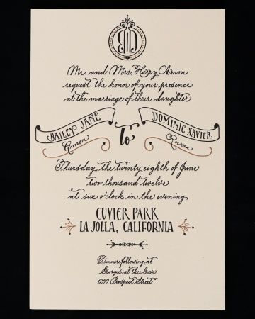 A simpler design route was taken for the actual invite, which was hand lettered in a Spencerian style script by the bride. The more prominent lines and the couple's names, were inspired by old advertisements and embellished letters. A monogram topped the piece, which was bundled with the reply card and envelope by a light aqua band sealed with an embossed gold foil seal bearing the same monogram.