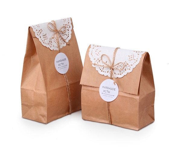 20 Plain Kraft paper bags paper bags paper gift by CookieboxStore