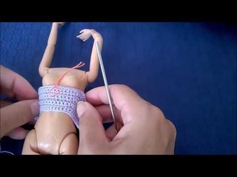 Vestido babadinho de crochê para boneca barbie