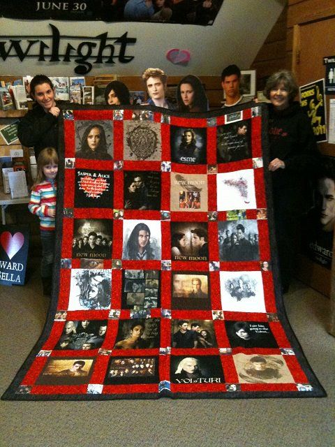 Been wanting to make a Twilight Quilt for awhile.  I like this idea too - using Twilight T-Shirts.