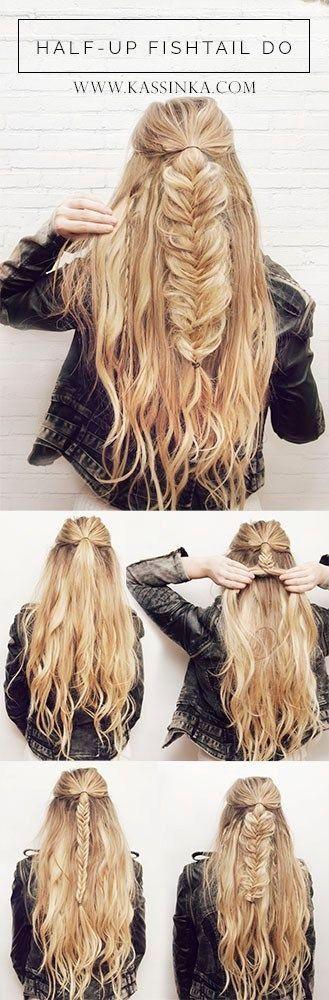 Half-up Fishtail Braid- Easy Hair Tutorial by tameka