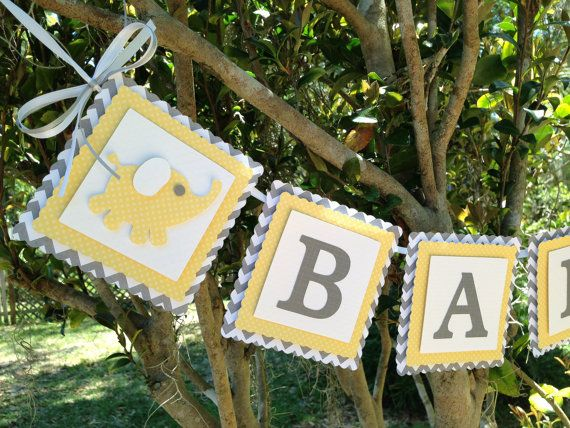 Grey and Yellow Baby Shower Yellow and Grey by SharingAPassionINC, $20.50