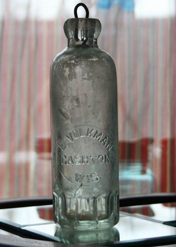 Antique 1880 S Hutchinson Aqua Soda Bottle From Cashton