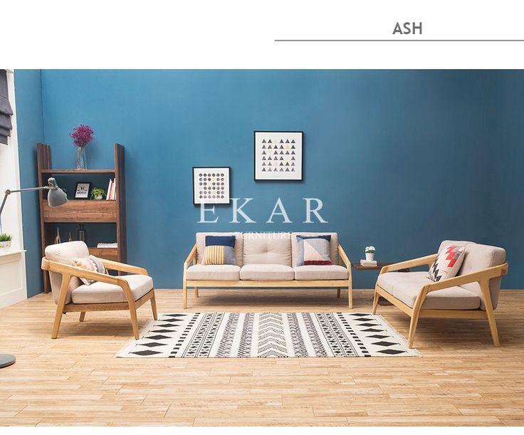 New Modern Design Leather Back Oak Ash Solid Wood Latest Design Sofa Set